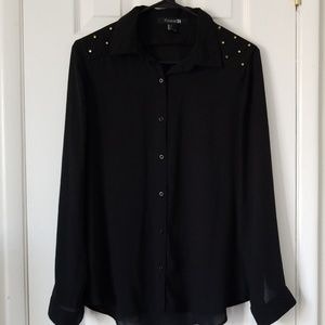 Forever 21 Black Buttoned Down Top